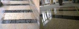 Преди и след поправка чрез шлайфане на мозайка - Lux настилки - Плевен